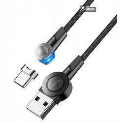 Кабель Type-C - USB, Hoco S8 180 angle, 3А,120см, магнитный, с вращающимся коннектором