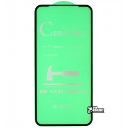 Защитное оргстекло для iPhone Xr, iPhone 11, Ceramica, с фаской, черное