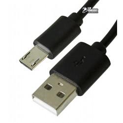 Кабель Micro-USB - USB, Mussels, длинный штекер (11мм), 1 A, 1 метр, черный