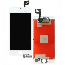 Дисплей iPhone 6S, белый, с сенсорным экраном, с рамкой, AAA, Tianma, с пластиками камеры и датчика приближения