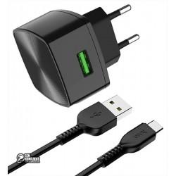 Сетевое зарядное устройство Hoco C70A QC3.0, 3А, 18Вт, 1USB, с кабелем Type-C, черное
