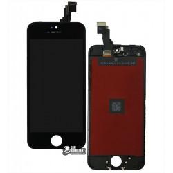 Дисплей iPhone 5C, черный, с сенсорным экраном, с рамкой, AAA, Tianma, с пластиками камеры и датчика приближения