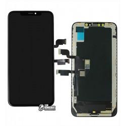 Дисплей для iPhone XS Max, черный, с сенсорным экраном, с рамкой, (OLED), AAA, GX OEM hard