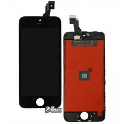 Дисплей для iPhone 5C, черный, с сенсорным экраном (дисплейный модуль), с рамкой, AAA, Tianma+