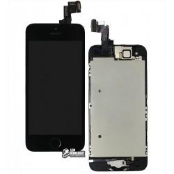 Дисплей iPhone 5S, черный, с сенсорным экраном, с рамкой, AAA, Tianma, с шлейфом кнопки HOME, с камерой, с динамиком