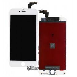 Дисплей iPhone 6 Plus, белый, с сенсорным экраном, с рамкой, AAA, Tianma, с пластиками камеры и датчика приближения