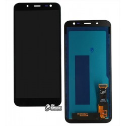 Дисплей Samsung J600 Galaxy J6; Samsung, черный, с сенсорным экраном (дисплейный модуль), с регулировкой яркости, (TFT), Сopy