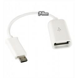 Кабель Micro-USB - USB, OTG, Toto TKZ-01, переходник, белый