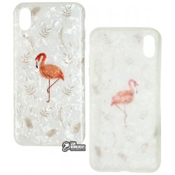 Чехол для Apple iPhone Xs Max, Blood of Jelly Cute case, силиконовый, flamingo white