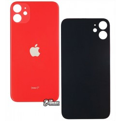 Задняя панель корпуса для iPhone 11, красная, не нужно снимать стекло камеры, big hole