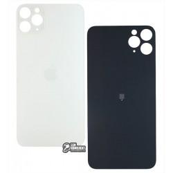 Задняя панель корпуса для iPhone 11ProMax, серебристая, не нужно снимать стекло камеры, big hole