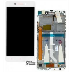 Дисплей для Lenovo S60, белый, с передней панелью, с сенсорным экраном (дисплейный модуль)