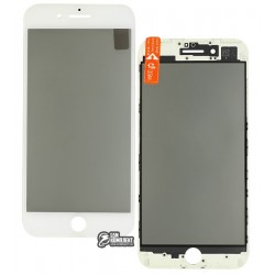 Стекло дисплея для Apple iPhone 7 Plus, с рамкой, с поляризационной пленкой, с OCA-пленкой, белое