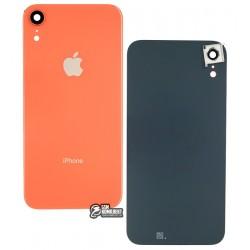Задняя панель корпуса для iPhone XR, коралловая (оранжевая), со стеклом камеры