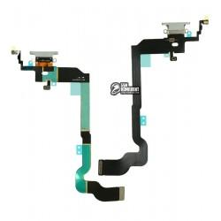 Шлейф для Apple iPhone X, High Copy, конектора навушників, конектора зарядки, білий