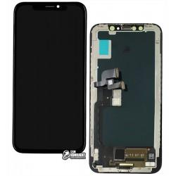 Дисплей для Apple iPhone X, чорний, з тачскріном, з рамкою, (OLED), копія AA, НЕ.Х OEM hard