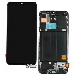 Дисплей для Samsung A405F / DS Galaxy A40, чорний, з сенсорним екраном (дисплейний модуль), з рамкою, оригінал (PRC), оригінал glass
