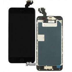 Дисплей iPhone 6S Plus, чорний, з сенсорним екраном, з рамкою, AAA, Tianma, зі шлейфом кнопки HOME, з камерою, з динаміком