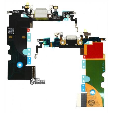 Шлейф для Apple iPhone 8, конектора зарядки, білий