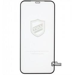 Закаленное защитное стекло для iPhone 12. iPhone 12 Pro, 2.5D, Full Glue, черное