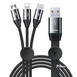 Кабель Micro-USB+Lightning+Type-C - USB, 3в1, Baseus Car Co-Sharing, 1 м, тканевый, черный