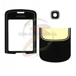 Стекло корпуса для Nokia 8600, полный комплект, черное