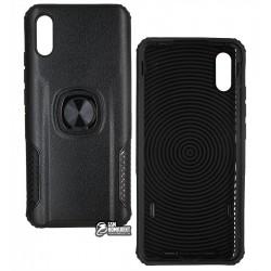 Чехол для Xiaomi Redmi 9A, Leather Design Case With Ring, силикон-пластик, черный