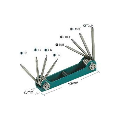 Набор складываемых звездообразных ключей с отверстиями и без них ProsKit 8PK-021T