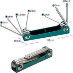 Набор складываемых шестигранных, плоских и крестообразных ключей ProsKit 8PK-021S