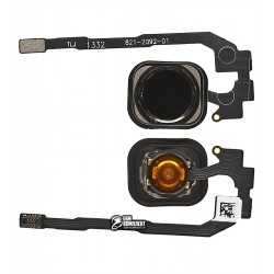 Шлейф для Apple iPhone 5S, iPhone SE, кнопки Home, чорний, з пластиком, копія