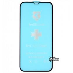 Защитное оргстекло для iPhone 12, iPhone 12 Pro, Polycarbone, 3D, с фаской, черное