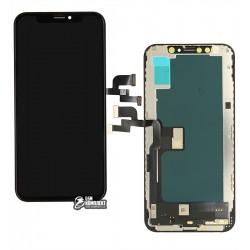 Дисплей iPhone XS, чорний, з сенсорним екраном, з рамкою, (TFT), копія, # (Оriginal lcd, Оriginal glass, Оriginal flat сable, Оriginal touchscreen) NEW