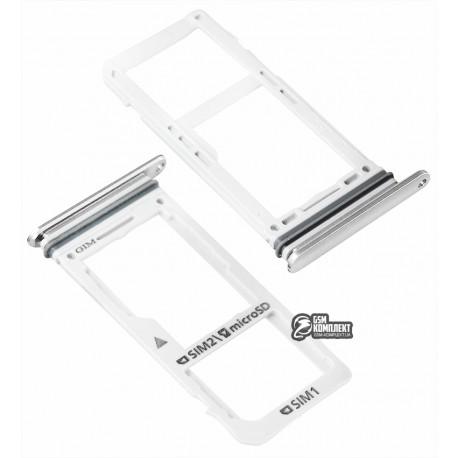 Тримач SIM-карти для Samsung N950FD Galaxy Note 8 Duos, сріблястий колір
