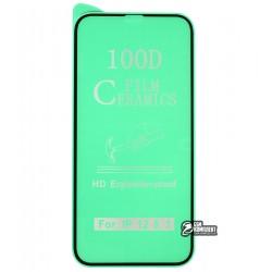 Защитное оргстекло для iPhone 12, iPhone 12 Pro, Ceramica, с фаской, черное