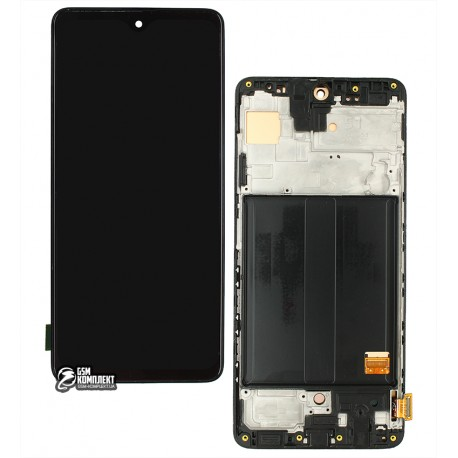 Дисплей для Samsung A515 Galaxy A51, A515F/DS Galaxy A51, чорний, з сенсорним екраном, з рамкою, (OLED), High Copy
