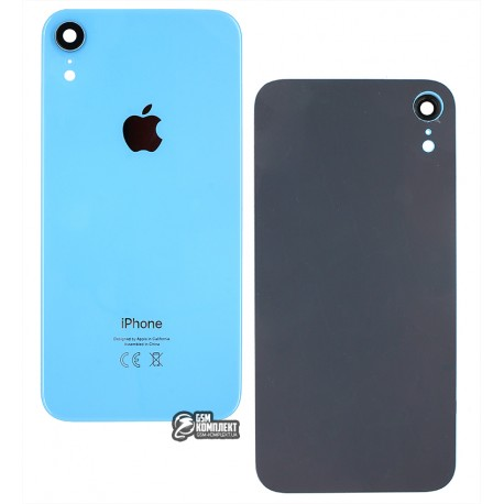 Задняя панель корпуса для iPhone XR, голубая, со стеклом камеры