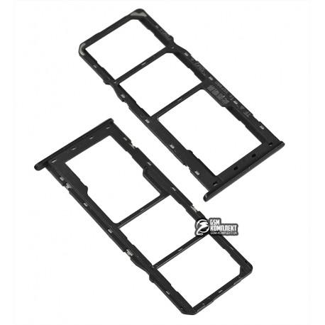 Держатель SIM-карты Oppo A5S, c держателем MMC, черный