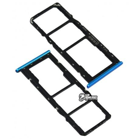Держатель SIM-карты Oppo A12, c держателем MMC, голубой