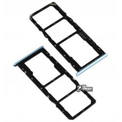Держатель SIM-карты Realme C11, Realme C12, Realme C15, c держателем MMC, синий